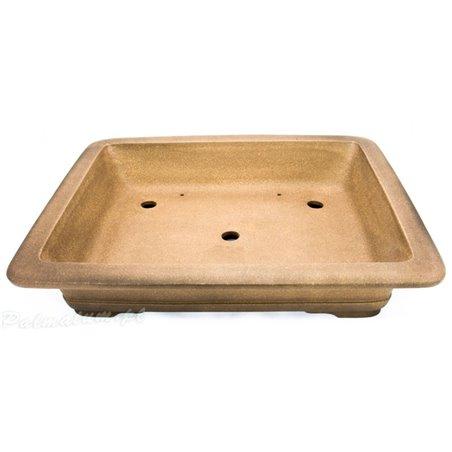 Floriated glazed bonsai pot