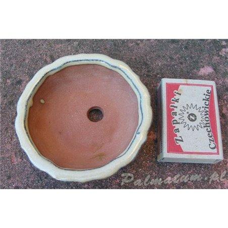Small glazed blue bonsai pot 9cm